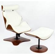Дизайнерское кресло Relax с оттоманкой из натурального дерева с мягкой