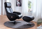 Кресла-реклайнеры Relax Master из натуральной кожи и дерева,  с подножк
